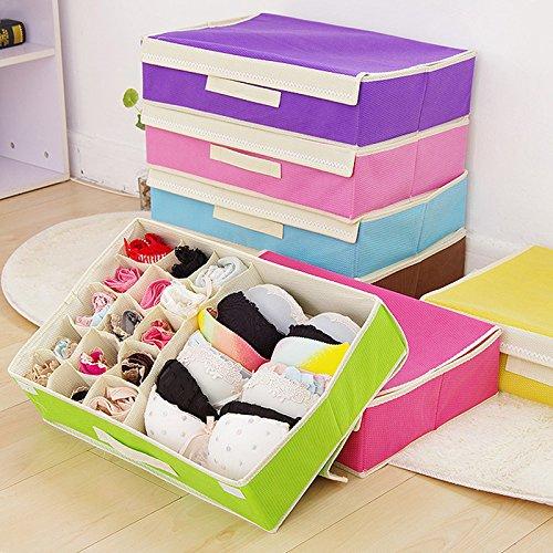 XENO-Foldable Underwear Bra Socks Ties Divider Closet Container Storage Box Organizer green15 grids