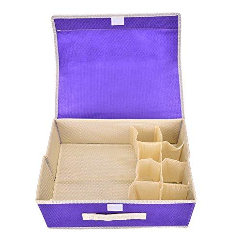 XIDAJE Collapsible Drawer Divider 8 Grid Underwear Bra Socks Ties Divider Closet Container Storage Box Organizer Purple