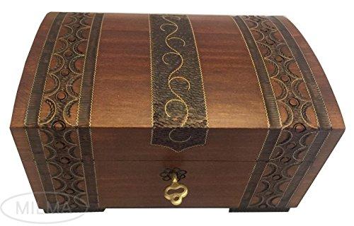 Handmade Wooden Chest Polish Linden Wood Jewelry Keepsake Box w Lock and Key