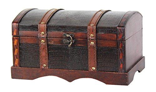 VintiquewiseTM Leather Wooden ChestTrunk