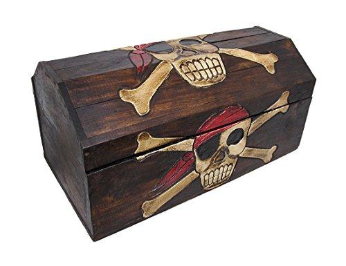 Wooden Pirate Skull Treasure Chest Storage Box