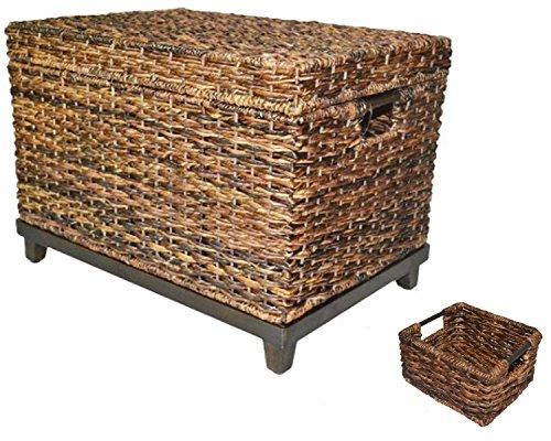 Wicker Large Storage Trunk Chest Huge basket Accent furniture Storage furniture - Dark Global Brown - Threshold
