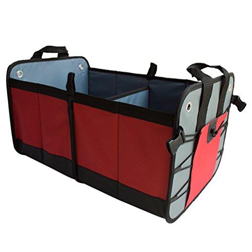 Sunkey Folding Car Trunk Organizer For Suv Groceries Storage Box Red
