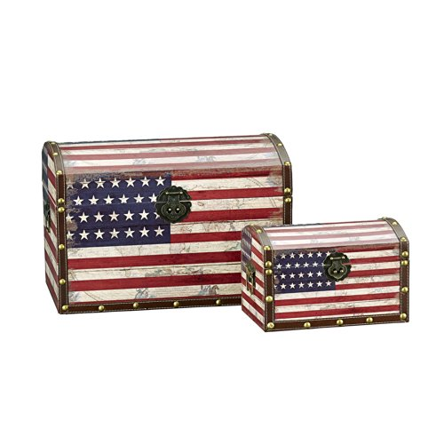 Household Essentials Decorative Storage Trunk American Flag Design Large and Small Set of 2
