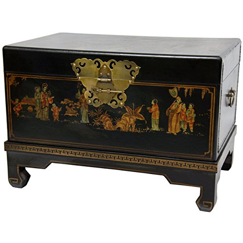 Oriental Furniture Black Lacquer Small Trunk