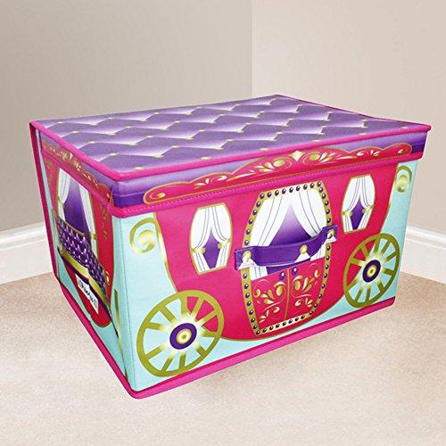 Childrens Girls Fairytale Carriage Design Folding Bedroom Storage Chest One Size FuchsiaPurple