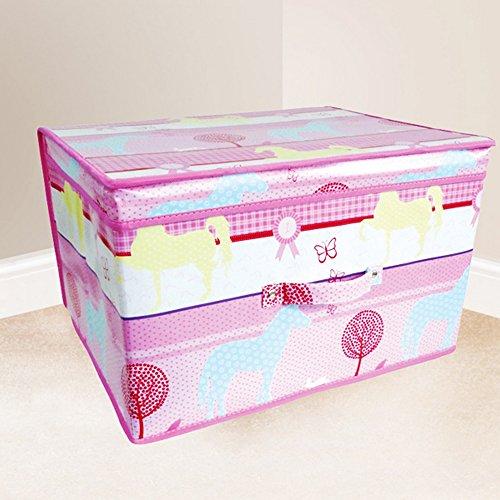 Childrens Girls Pink Horses Design Folding Bedroom Storage Chest One Size Pink