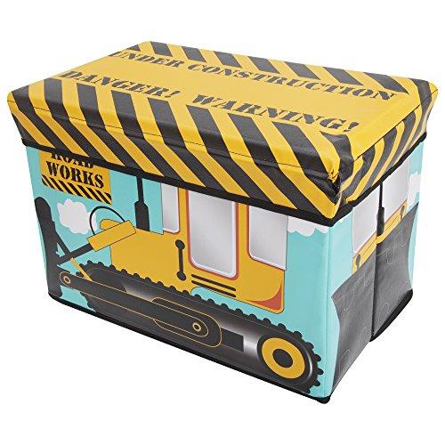ChildrensKids Digger Design Folding Bedroom Storage Chest One Size YellowBlackBlue