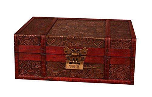 Bestwoo Vintage Treasure Storage Trunk Box Wood Jewelry Holder with Lock Lotus Pattern