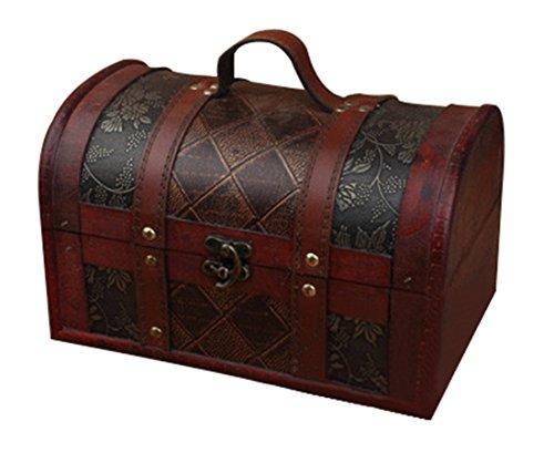 Bestwoo Wood Vintage Treasure Storage Trunk Box Jewelry Holder with Handle Grid Pattern