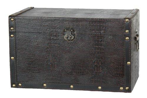 VintiquewiseTM Decorative Leather Wooden TrunkBox