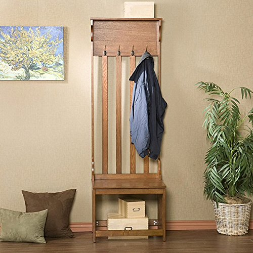 Mission Style Oak Wood Finished Hall Tree Coat Rack Entryway Storage Bench Includes Our Exclusive Mousepad