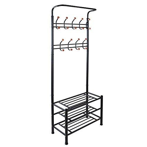 World Pride Metal Entryway Storage Bench with 18 Hanger Hooks Coat Rack