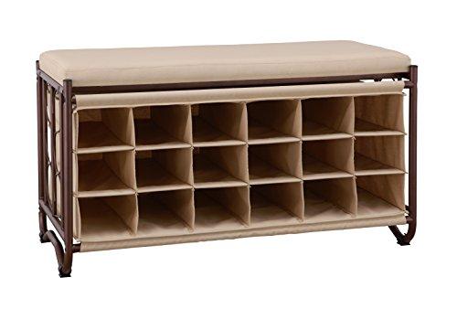 Organize It All Shoe Storage Bench Beige