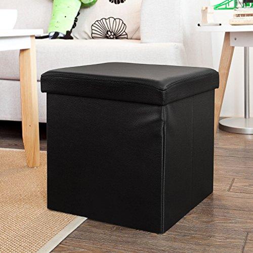 Haotian faux leather storage ottomanfolding storage bench with Seat cushion FSS22-SCH ,black 149 x 149 x 149 inch