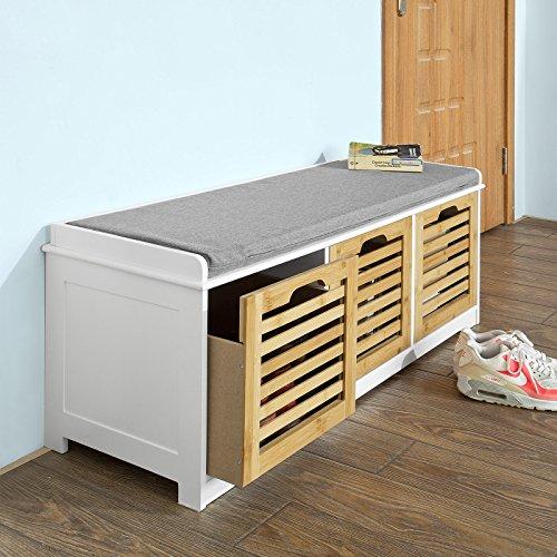 SoBuy Storage Bench with 3 Drawers Seat Cushion Shoe Cabinet Storage Unit Bench FSR23-WN