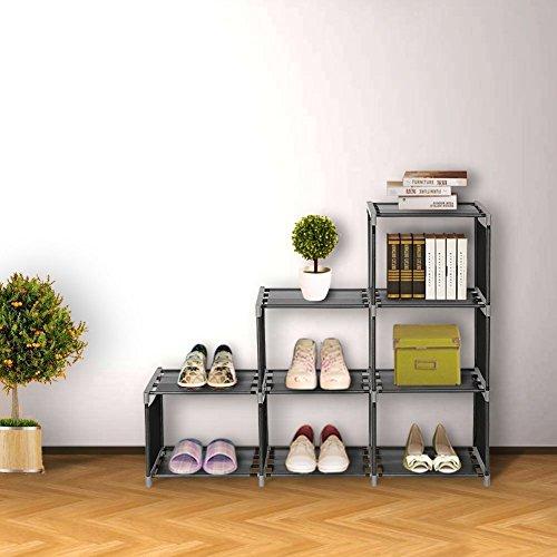 Blissun Cube Organizer 3 Tier Cabinet Bookcase Storage Cube Closet Shelf Black BLIS-A01