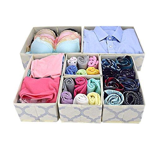 Homyfort Collapsible Dresser Drawer Divider Organizer Closet storage cubes bins boxes for clothes underwear bras socks ties scarves set of 6 beige