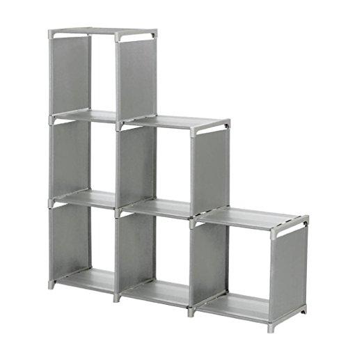 Storage ShelfWYTong 3-tier Storage Cube Closet Organizer Shelf 6-cube Storage Cabinet Bookcase Space-Saving Cube Storage Unit Grey
