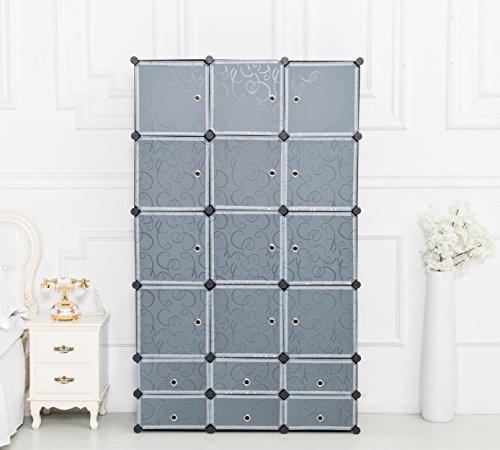 UNICOO - Multi Use DIY 126 Cube Organizer Bookcase Storage Cabinet Wardrobe Closet - Regular Cube Black