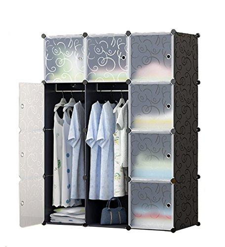 UNICOO - Multi Use DIY 12 Cube Organizer Bookcase Storage Cabinet Wardrobe Closet Regular Cube Black