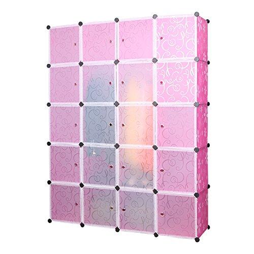 UNICOO - Multi Use DIY 20 Cube Organizer Bookcase Storage Cabinet Wardrobe Closet - Regular Cube Rosered