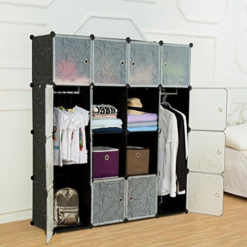 UNICOO - Multi Use DIY Plastic 16 Cube Organizer Bookcase Storage Cabinet Wardrobe Closet Black with White Door Deeper Cube