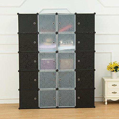 UNICOO - Multi Use DIY Plastic 20 Cube Organizer Bookcase Storage Cabinet Wardrobe Closet Black with Black  White Door Deeper Cube
