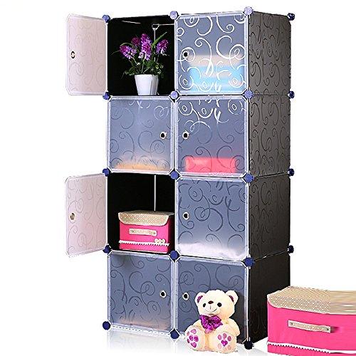 UNICOO - Multi Use DIY Plastic 8 Cube Organizer Toy Organizer Bookcase Storage Cabinet Wardrobe Closet Black