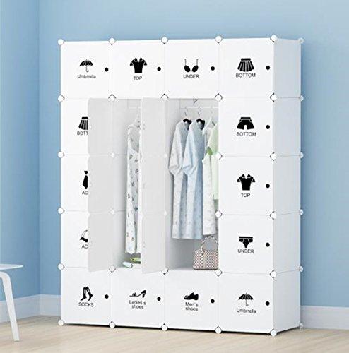 Unicoo - Multi Use DIY 20 Cube Organizer Toy Organizer Bookcase Storage Cabinet Wardrobe Closet With Door Sticker Deeper Cube White