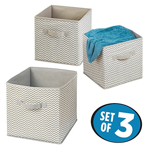 mDesign Chevron Closet Storage Organizer Cubes for Sweaters Shirts Toys Blankets - Set of 3 TaupeNatural