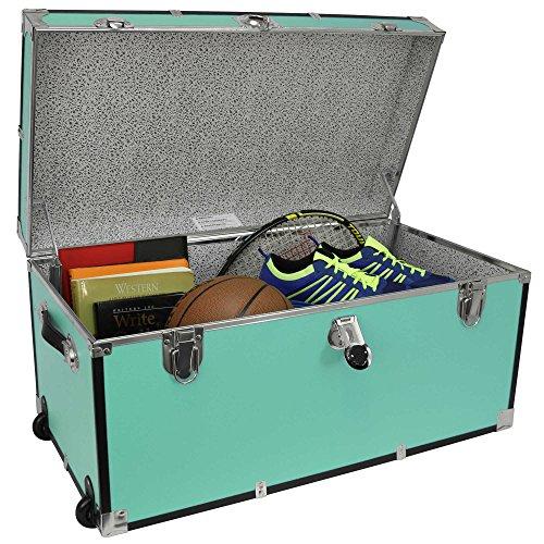 31 Storage Footlocker Storage Trunk with Wheels Storage in Blue