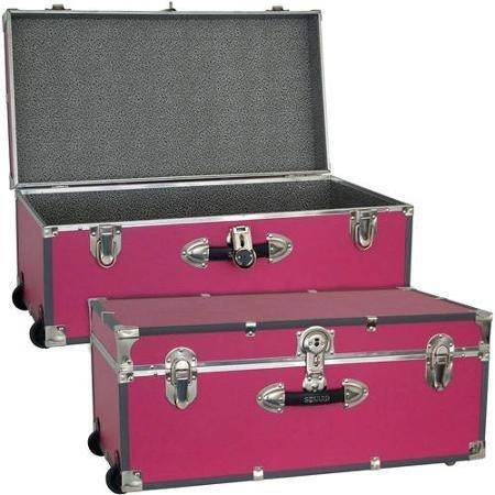 Mercury Luggage Seward Trunk Wheeled Storage Footlocker 30 Pink