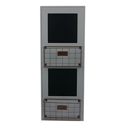 Skalny Grey Rectangle Wood Wall Storage Unit with Chalkboard 1175 x 4 x 315