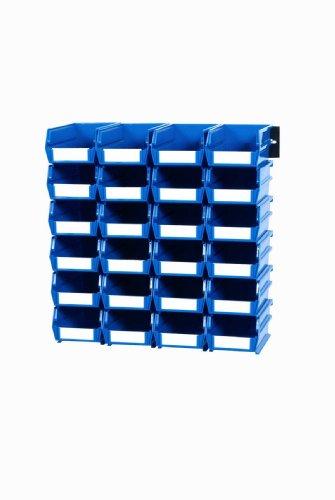 Triton Products 3-210BWS LocBin 26 Piece Wall Storage Unit with 5-38 Inch L x 4-18 Inch W x 3 Inch H Blue Interlocking Poly Bins 24 CT Wall Mount Rails 8-34 Inch L with Hardware 2 pk