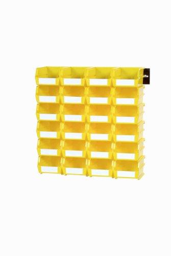 Triton Products 3-220YWS LocBin 26 Piece Wall Storage Unit with 7-38 Inch L x 4-18 Inch W x 3 Inch H Yellow Interlocking Poly Bins 24 CT Wall Mount Rails 8-34 In L with Hardware 2 pk