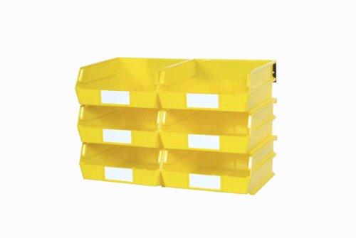 Triton Products 3-235YWS LocBin 8 Piece Wall Storage Unit with 10-78 Inch L x 11 Inch W x 5 Inch H Yellow Interlocking Poly Bins 6 CT Wall Mount Rails 8-34 Inch L with Hardware 2 pk