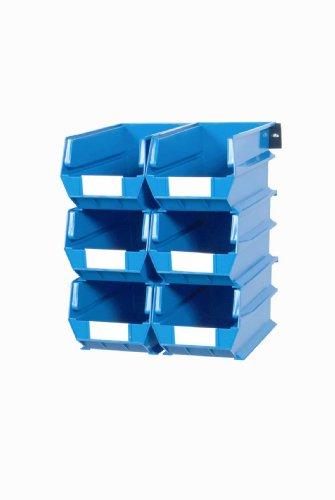 Triton Products 3-240BWS LocBin 8 Piece Wall Storage Unit with 14-34 Inch L x 8-14 Inch W x 7 Inch H Blue Interlocking Poly Bins 6 CT Wall Mount Rails 8-34 Inch L with Hardware 2 pk