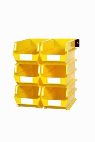 Triton Products 3-240YWS LocBin 8 Piece Wall Storage Unit with 14-34 Inch L x 8-14 Inch W x 7 Inch H Yellow Interlocking Poly Bins 6 CT Wall Mount Rails 8-34 Inch L with Hardware 2 pk