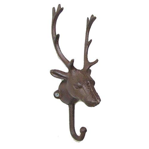 KiaoTime Vintage Rustic Cast Iron Metal Deer Antlers Coat Hook Coat Rack Coat Hanger Decorative Deer Antler Wall Hook Shabby Chic Storage Furniture Coat Wall Hook Home Hanger Brown