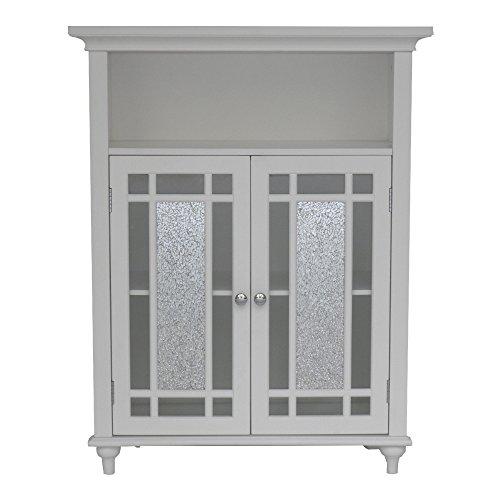 Two Door Bathroom Storage Floor Cabinet - Home Wooden Cabinet Floor Storage Furniture - Bathroom Laundry Open Shelves Cabinet With Glass Doors Organizer White