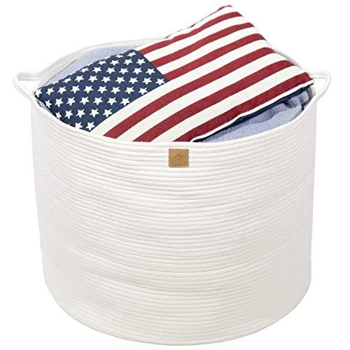 Queens Home XXXLarge Cotton Rope Basket - 22x22x18 Woven Round Baskets with Handles - Baby Laundry Basket for Kids Toy Towels Blanket Comforter Planter - Decorative Storage Basket Nursery Bin