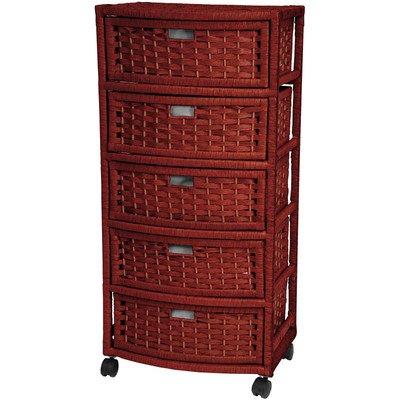 5-Drawer Storage Chest Made w Wicker in Mahogany Finish 375 H x 1725 W x 13 D