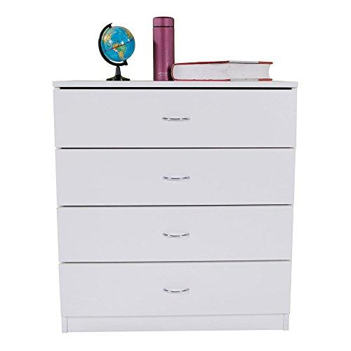 Dresser Bedroom Storage Chest Drawer Modern Wood Furniture White 4-Drawer White