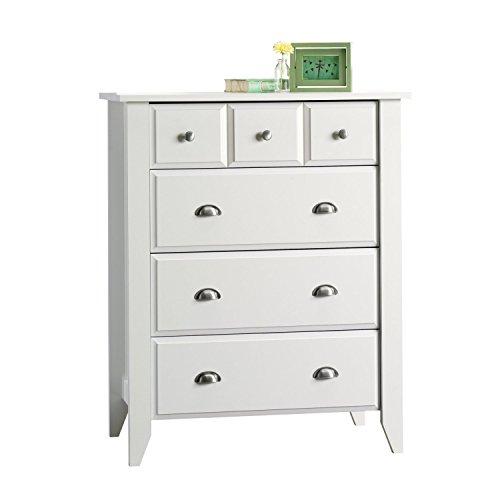 Modern Four Drawer Dresser - Contemporary Elegant Stylish Chest Indoor Furniture Home Living Room Bedroom Storage Additional White