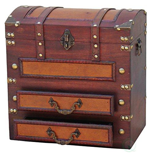 VintiquewiseTM Decorative Wooden Storage Chest with Drawers
