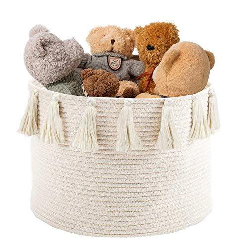 Abetree Large Tassel Woven Basket Storage with Handle Cotton Laundry Hamper Nursery Basket Blanket Baby Toy Storage Organizer 177 x 118