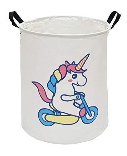 KUNRO Large Sized Storage Basket Waterproof Coating Organizer Bin Laundry Hamper for Nursery Clothes Toys Bike Unicorn