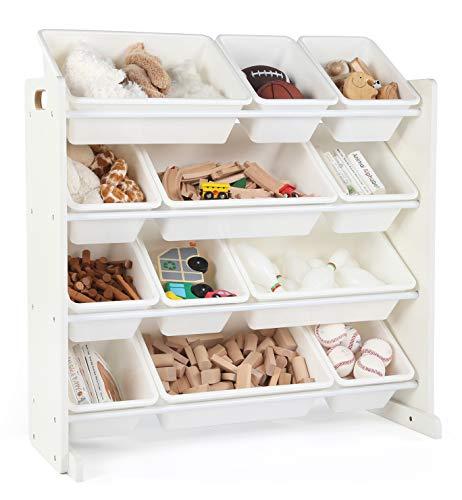 Tot Tutors Kids Toy Storage Organizer with 12 Plastic Bins White