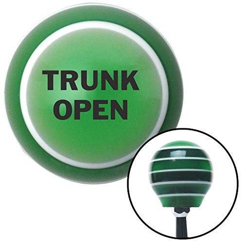 Black TRUNK OPEN Green Stripe Shift Knob with M16 x 15 Insert